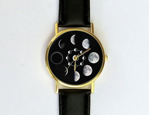 Moon Phases Watch, Unisex Watch, Ladies Watch, Men's Watch, Analog, Gift Idea, Astronomy, Space, Gift for Men