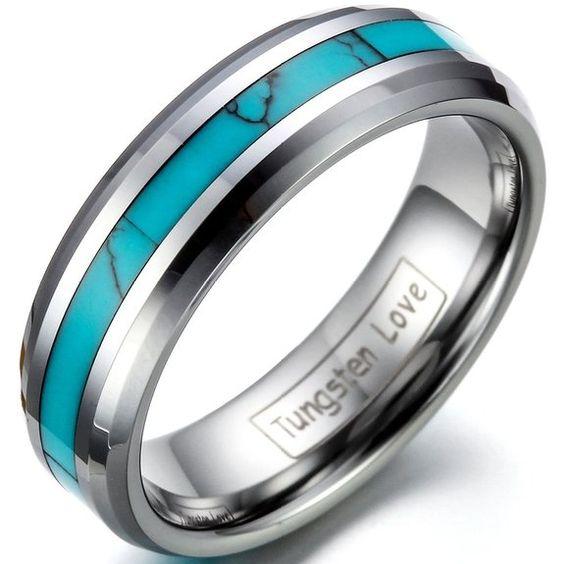 JewelryWe Gioielli anello da uomo donna 6mm nobile tungsteno con sintetico turchese intarsio anniversario/fidanzamento/matrimonio Band euro 10,99