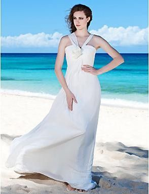 Cheap Sheath/ Column V-neck Floor-length Chiffon Wedding Dress 2013 at TheDressUnion.com