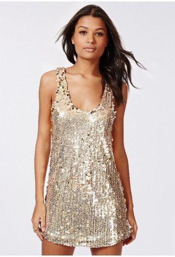 Missguided - Selena Sequin Vest Dress Gold