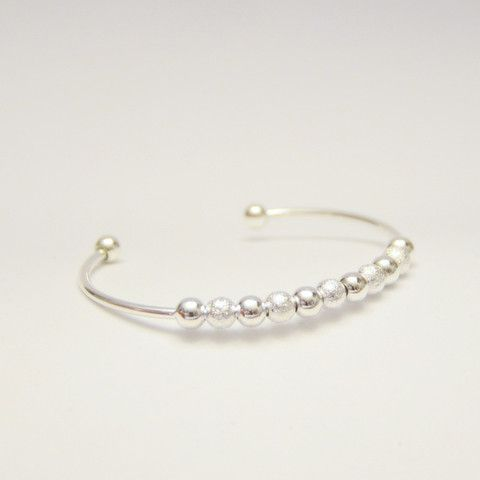 Counting blessings silver bead bangle