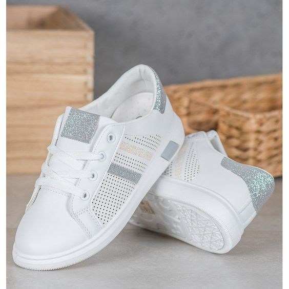 Shelovet Biale Buty Sportowe Z Brokatem Szare Ankle Strap Chunky Heels Adidas Gazelle Sneaker Sneakers