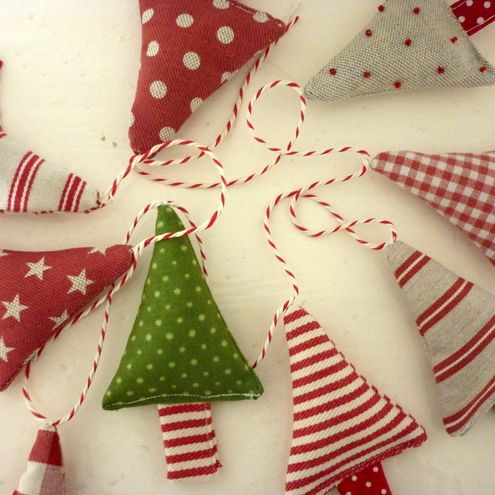 Tree Garland. This beautiful string of fabric Christmas trees will brighten up any room!  Consists of 8 trees in various spotty, stripy and checked fabrics attached along a string of bakers twine.