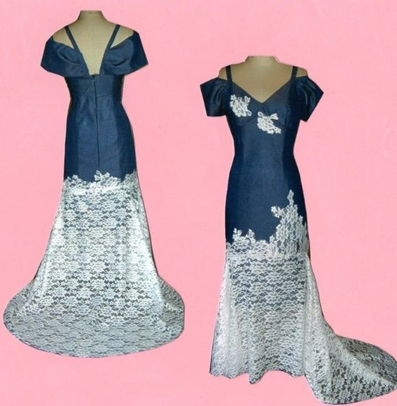 Denim wedding dress with lace detail country western for Western denim wedding dresses