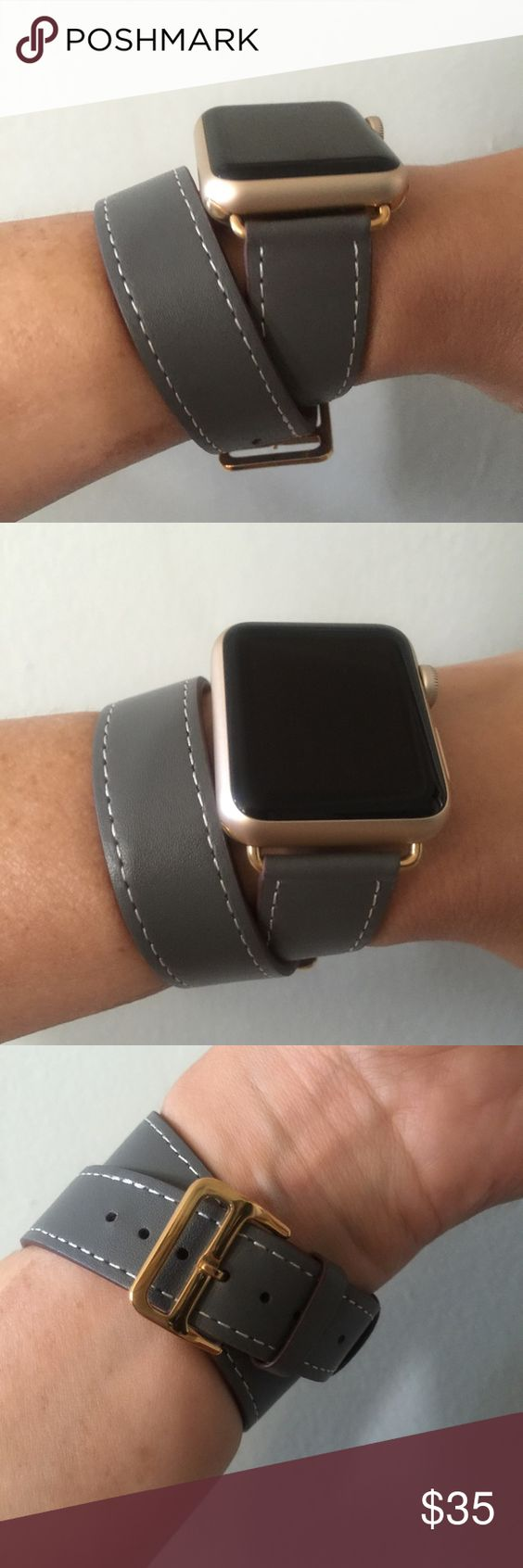 Gray Apple Watch double tour band w gold hardware! Gray Apple Watch double tour band with gold hardware ⌚️  Double tour band, leather.  It comes with 38mm or 42mm adapters. Please select your size when you purchase. The adapters fit the Apple Watch Sport.   I have other band colors, hardware colors and styles. Check them out! If you don't see what you are looking for, message me!    I offer 15% off on two or more! Add BOTH items to the bundle for the discount to automatically apply.    Only…