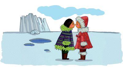 Dire bonjour dans le monde - illustration  Grand Nord : Inuit et Lapons