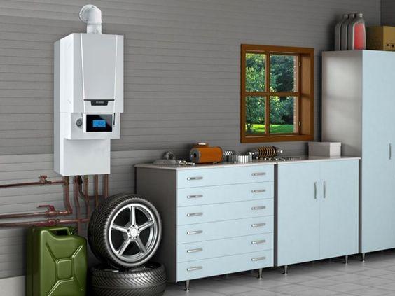 Le système hybride est la combinaison d'une chaudière à condensation au gaz et d'une pompe à chaleur air-eau. #intérieur #aménagement #pompeàchaleur #garage