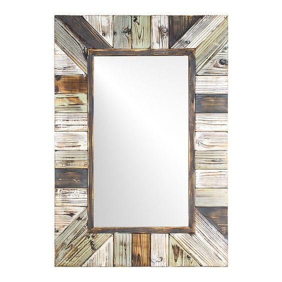 E2 Rustic Wood Plank Farmhouse Rectangle Mirror In 2020 Wood Mirror Framed Mirror Wall Rustic Wall Mirrors