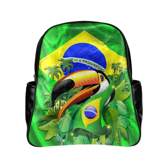 Brazil Flag with Toco Toucan Multi-Pockets Backpack (Model 1636)