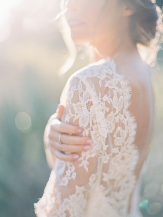 Ethereal lace wedding dress: http://www.stylemepretty.com/california-weddings/san-diego/la-jolla-san-diego/2016/03/29/colorful-spring-bridal-session/ | Photography: Natalie Bray - http://nataliebray.com/