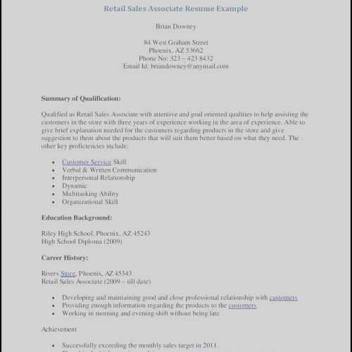 70 New Photos Of Sample Resume For Retail Sales Position