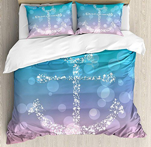Anchor Duvet Cover Set Luxury Soft Hotel Quality 4 Piece Twin Plush Microfiber Bedding Sets Starry Fairy Anc Anchor Bedding Pink Duvet Cover Duvet Cover Sets