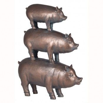 Antique Bronze Polyresin Decorative Stacked Pigs. Great gift for animals lover!