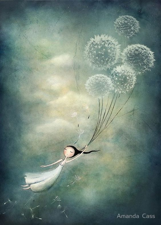 Dandelion balloons floating away