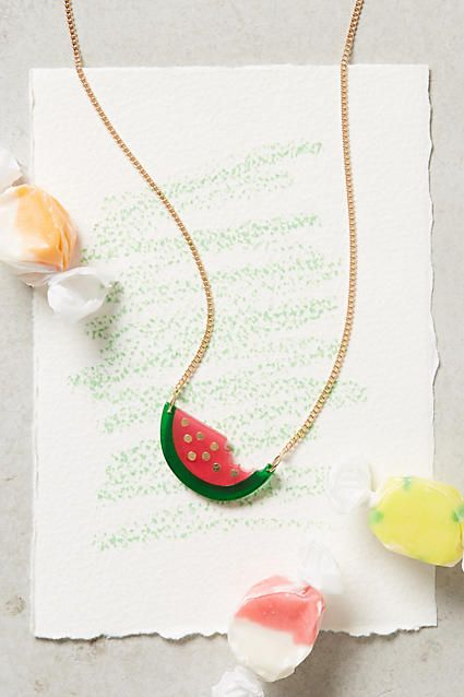 take a bite out of this melon pendant necklace