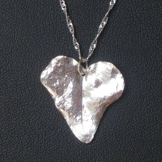 Silver heart made from english ivy leaf!