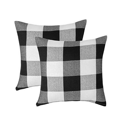 Vanky Set Of 2 Black And White Throw Pillows Farmhouse Decorative Buffalo Checkers Plaid Throw Pillow Case Winter Indoor Outdoor Cushion Cover Pillowcase For So