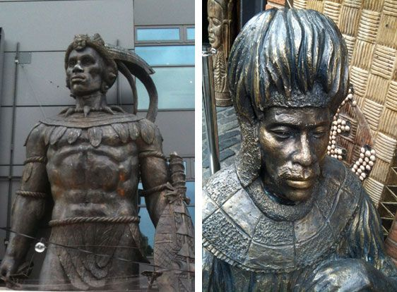 real photo of shaka zulu these sculptures are outside of