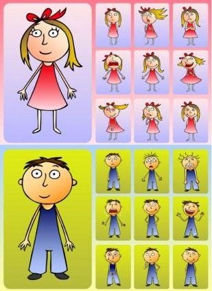 cute boys and girls clip art: Art Work, Girls Vector, Clip Art, Vector Cartoon, Childhood Education