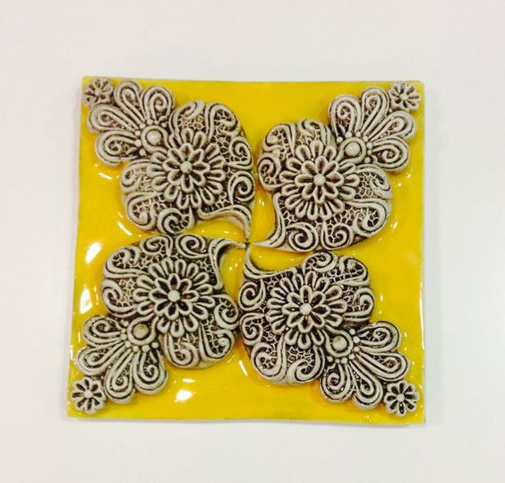 Tile with Hearts in High Relief - Handmade and hand-painted in Portugal - Azulejo Português Coração de Viana
