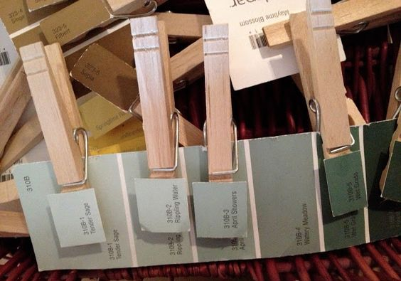 DIY Color Matching Game using paint chips and clothespins