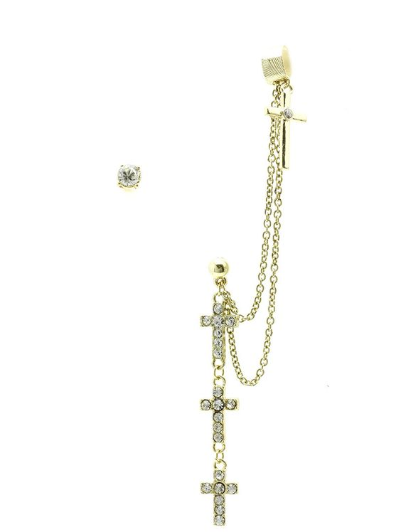 Earring Layered Metal Cross Chain Drop Cuff Crystal Stone Post Pin 4 1/2 Inch Drop