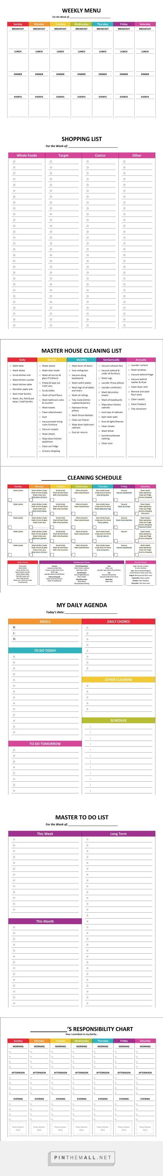Complete Housekeeping Printable Set!   Visual reminders and supports for daily and weekly chores, including menu planning, shopping lists, chore responsibility chart and more.