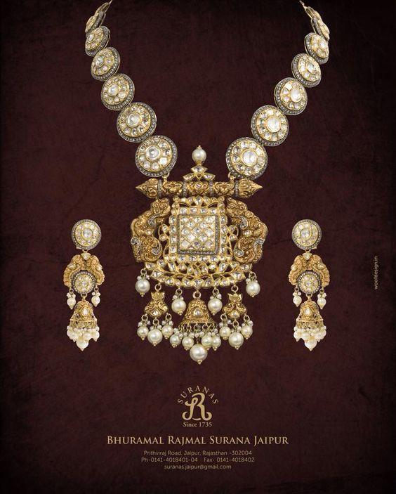 Antique Gold N Jadtar Set