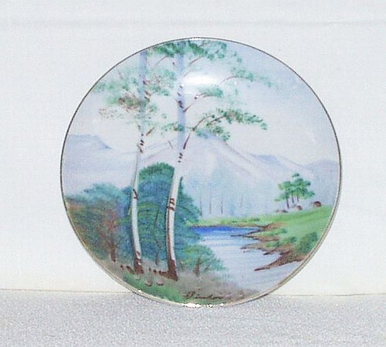 Small wall decor plates : Vintage hand painted japan plate wall decor s