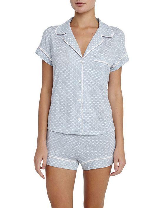 Cabana Girl Printed Short Pajama Set, Chambray, Size: M - Eberjey