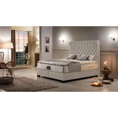 Boxspringbett Kenna Canora Grey Farbe Gewebe Beige Liegeflache 180 X 200 Cm Hartegrad Der Matratze H3 Ab Ca 80 Kg Grey Furniture Home Decor