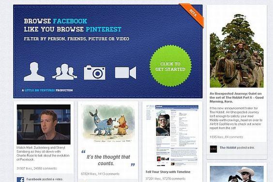 """PinView.    O aplicativo, lançado essa semana, é gratuito e transforma o Facebook no mural inicial do Pinterest. Para isso, basta permitir o acesso da ferramenta ao perfil e então a timeline e atividades do usuário, e seus amigos, são então apresentadas como os famosos """"boards"""" da nova rede social."""