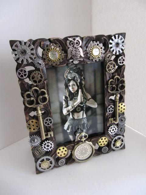 Exclusive Frame 5x7 Steampunk Picture Frame by LuckySteamPunk