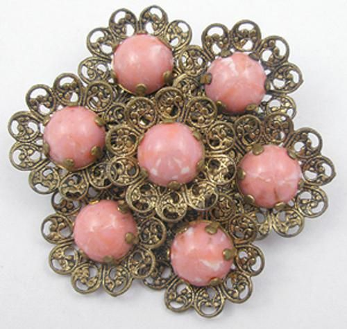 Brass Filigree Coral Glass Cab Brooch - Garden Party Collection Vintage Jewelry