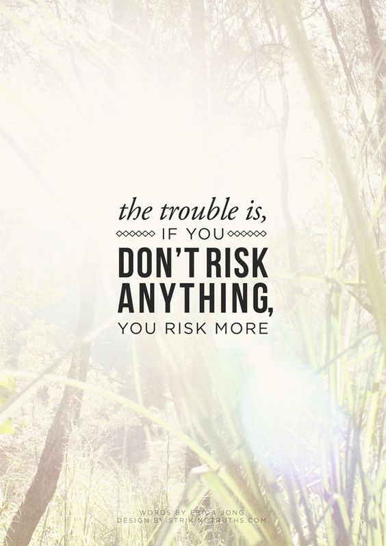 """The trouble is, if you don't risk anything, you risk more.""    -Erica Jong:"