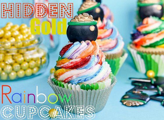 Hidden Gold Rainbow Cupcakes  from @Kristan Roland
