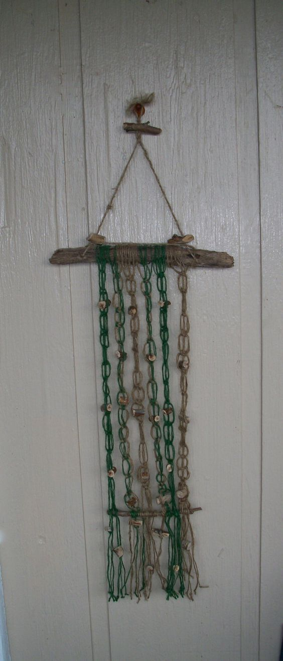 Macrame Wall Hanging Handmade  Green And Brown  by Lionfishvintage