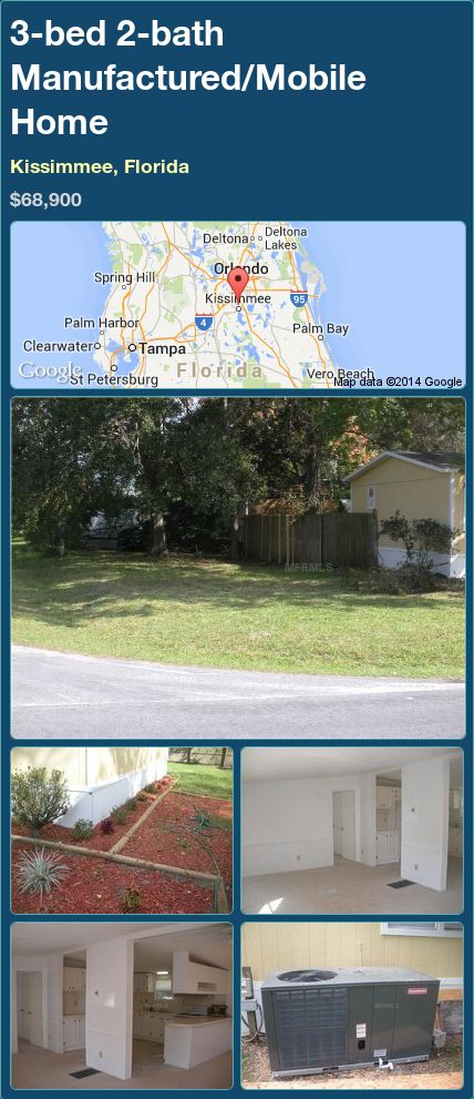 3-bed 2-bath Manufactured/Mobile Home in Kissimmee, Florida ►$68,900.00 #PropertyForSale #RealEstate #Florida http://florida-magic.com/properties/73409-manufactured-mobile-home-for-sale-in-kissimmee-florida-with-3-bedroom-2-bathroom
