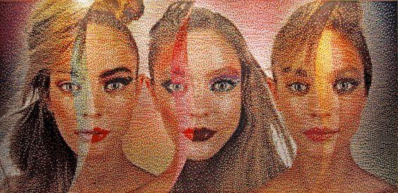 Pushpin Portraits, by Eric Daigh, utilisant entre 15 000 et 20 000 punaises pour concevoir des œuvres et des portraits sous forme de mosaïques.