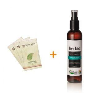 Argila orgânica Terramater Verde + Água Floral orgânica Herbia de Erva-baleeira - Antiflamatório- Lohas Store