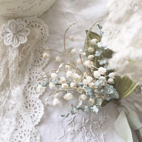 スズランと勿忘草のブーケ フラワークラフト 布で作る花 粘土の花