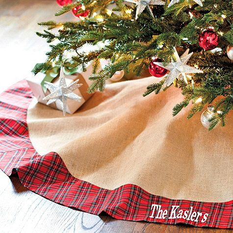 You'll look forward to rediscovering this Tree Skirt year after year. Suzanne Kasler blends traditional red tartan plaid with natural burlap for this fresh take on a classic holiday tree skirt.