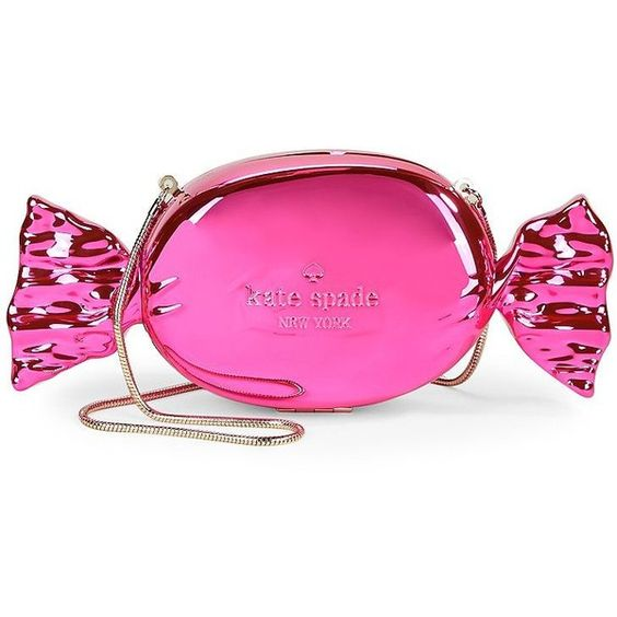 Kate Spade New York Do Wonders Candy Clutch ($398) ❤ liked on Polyvore featuring bags, handbags, clutches, pink, metallic purse, pink metallic handbag, pink metallic purse, plastic handbags and metallic clutches