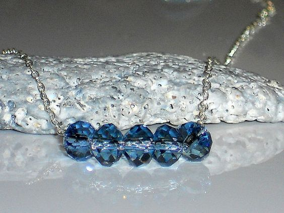 Carrie necklace, sterling silver, Swarovski crystal necklace, Carrie Bradshaw, minimalist, blue crystal necklace