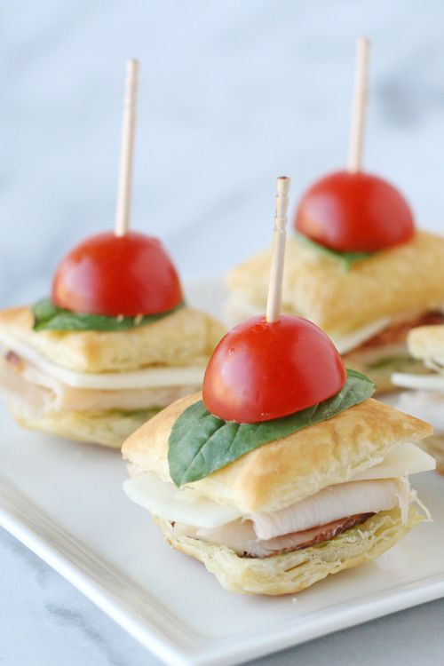 Serve turkey and pesto between puff pastry for a mini sandwich that's the perfect combination of adorable and scrumptious.: