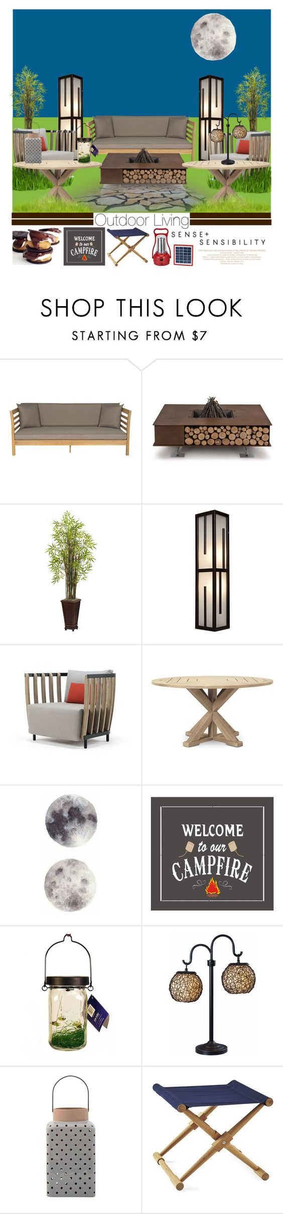 """""""Summer Outdoor Dining (3)"""" by emhenry ❤ liked on Polyvore featuring interior, interiors, interior design, home, home decor, interior decorating, Safavieh, AK47, Nearly Natural and Access Lighting"""