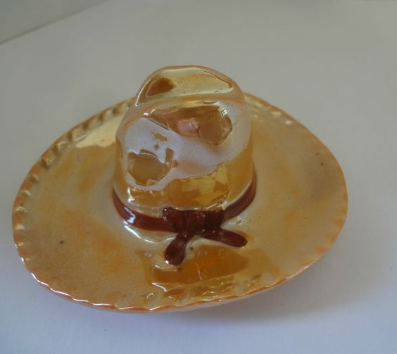 Vintage Orange Lustre Ceramic Cowboy Hat Made In Japan