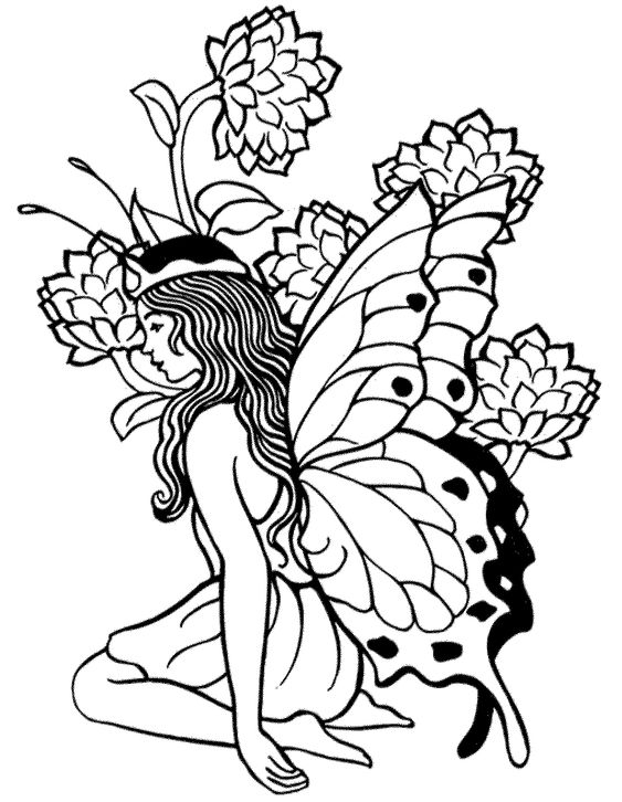 contemplative fairy princess coloring page fairy coloring page
