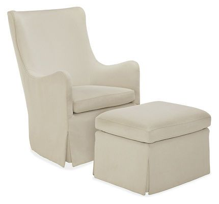 Ellery Swivel Glider Chair & Ottoman - Room & Board. Available To
