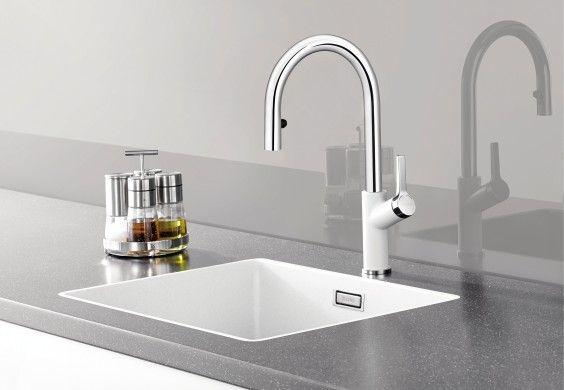 Blanco Etagon Silgranit sink with Blanco Culina Mini-S tap \ soap - k chenarmatur mit schlauchbrause